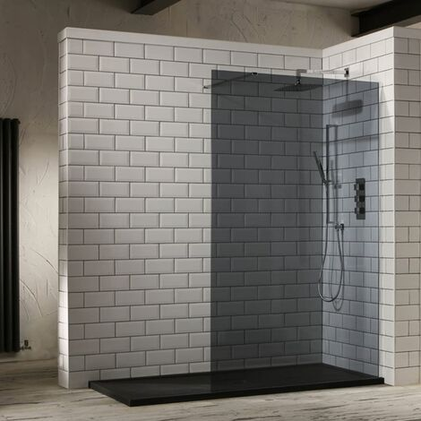 "main image of ""Verona Aquaglass+ Walk-In Shower Panel 900mm Wide - 10mm Tinted Glass"""