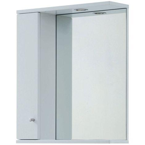 Verona Aquapure 1-Door LED Illuminated Mirrored Bathroom Cabinet 700mm H x 600 W - Pearl Grey