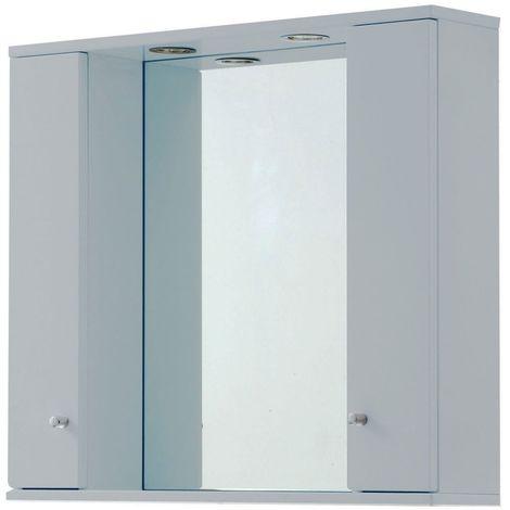 Verona Aquapure 2-Door LED Illuminated Mirrored Bathroom Cabinet 700mm H x 1000 W - Pearl Grey