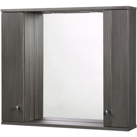 Verona Aquapure 2-Door LED Illuminated Mirrored Bathroom Cabinet 700mm H x 800mm W - Avola Grey