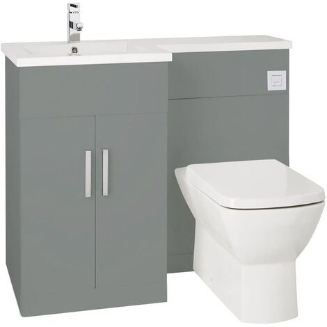 Verona Aquatrend Petite Combination Unit with Basin and Worktop 1100mm Wide LH - Dust Grey