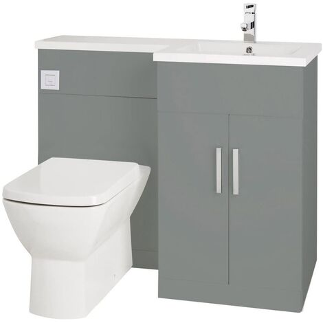 Verona Aquatrend Petite Combination Unit with Basin and Worktop 1100mm Wide RH - Dust Grey