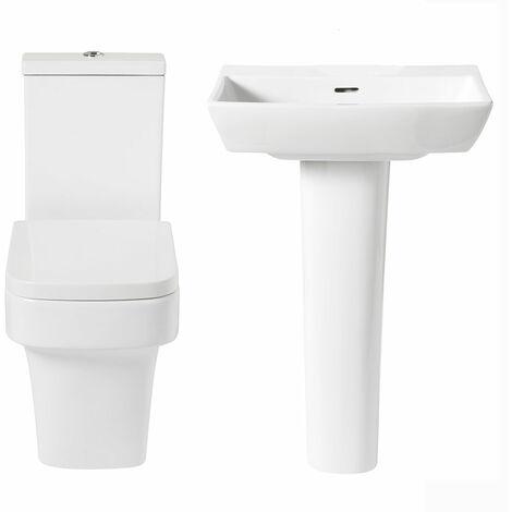 Verona Avenue Bathroom Cloakroom Suite (Close Coupled Toilet 550mm Basin)