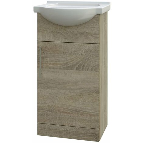 Verona Bathroom Vanity Unit with Basin 450mm Wide - Bordeaux Oak