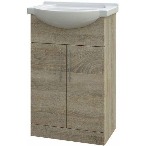 Verona Bathroom Vanity Unit with Basin 550mm Wide - Bordeaux Oak