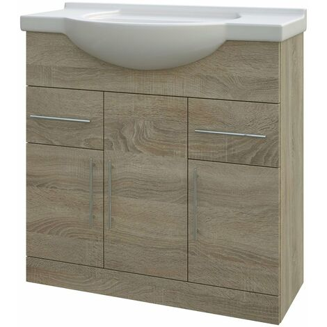 Verona Bathroom Vanity Unit with Basin 750mm Wide - Bordeaux Oak