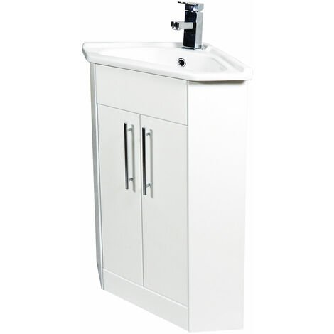 Verona Bianco Corner Vanity Unit and Basin 400mm Wide - Gloss White 1 Tap Hole