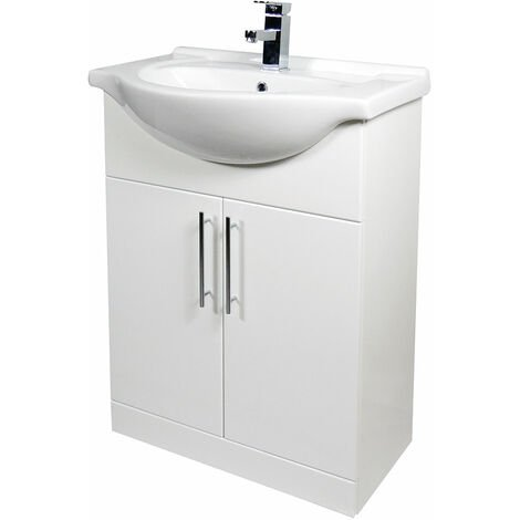Verona Bianco Floor Standing Vanity Unit and Basin 650mm Wide - Gloss White 1 Tap Hole