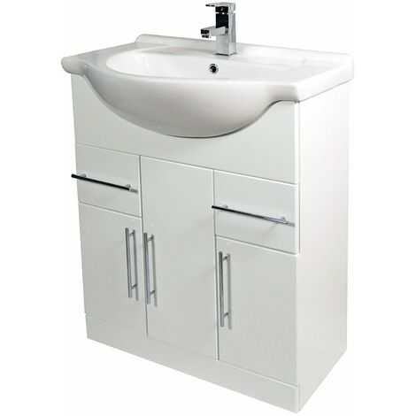Verona Bianco Floor Standing Vanity Unit and Basin 750mm Wide - Gloss White 1 Tap Hole