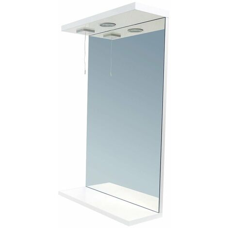 Verona Bianco Illuminated Bathroom Mirror 650mm W High Gloss White