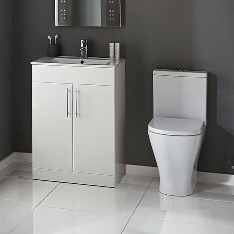 Verona Boulevard Cloakroom Suite Close Coupled Toilet 600mm Vanity Unit and Basin 1 Tap Hole