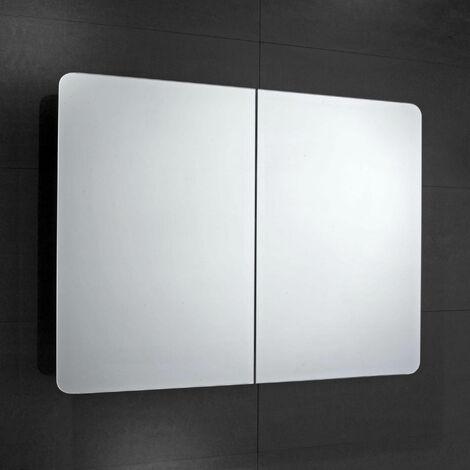 Verona Bramham 2-Door Mirrored Bathroom Cabinet 800mm Wide - Stainless Steel