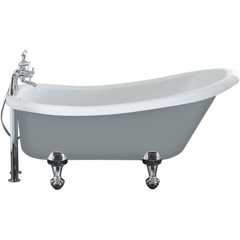 Verona Camden Freestanding Roll Top Slipper Bath 1500mm x 750mm Excluding Feet - Dust Grey Outer