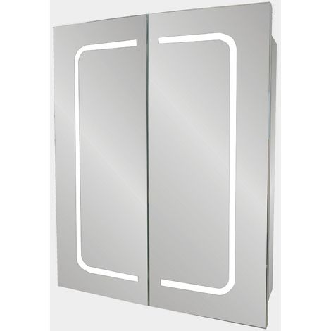 Verona Cannes 2-Door Mirrored Bathroom Cabinet 600mm Wide with LED Light and Shaver Socket