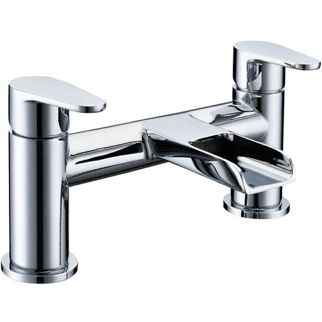 Verona Cascade Waterfall Bath Filler Tap Pillar Mounted Chrome