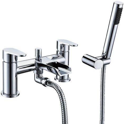 Verona Cascade Waterfall Bath Shower Mixer Tap Pillar Mounted Chrome