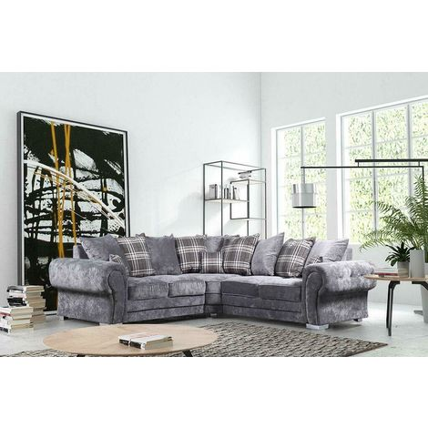 Verona Corner Sofa Chesterfield Style Velvet in Grey