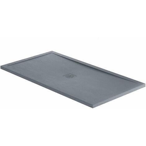 Verona Designer Rectangular Grey Slate Shower Tray 1200mm x 800mm - Stone Resin