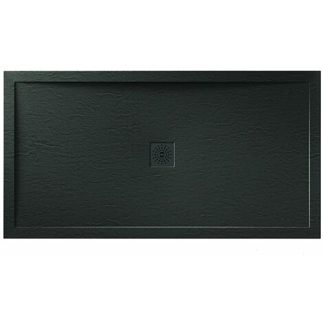 Verona Designer Stone Rectangular Shower Tray 1100mm x 800mm - Black Slate Effect