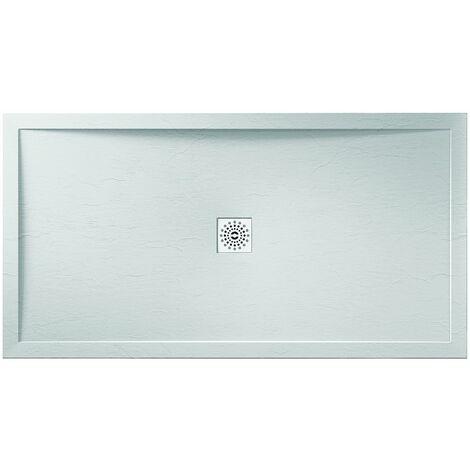 Verona Designer Stone Rectangular Shower Tray 1100mm x 800mm - White Slate Effect