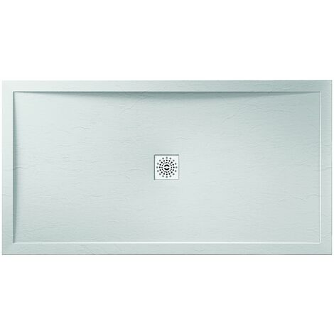 Verona Designer Stone Rectangular Shower Tray 1200mm x 800mm - White Slate Effect