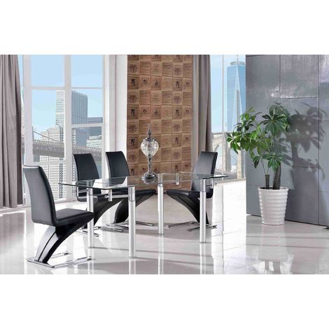 VERONA DINING TABLE & 6 ZED BLACK CHAIRS