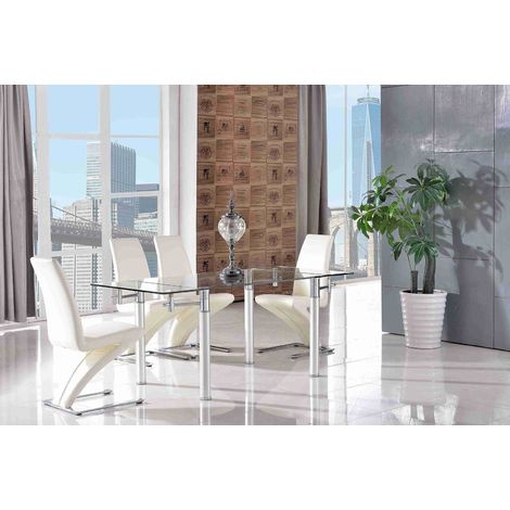 VERONA DINING TABLE & 6 ZED IVORY CHAIRS