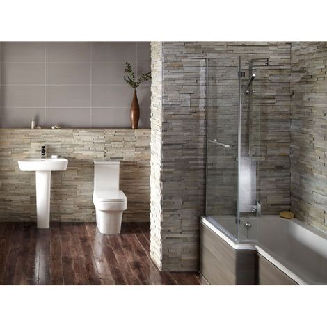 Verona Edge Avola Grey Complete Bathroom Suite Package (Left Hand Bath)