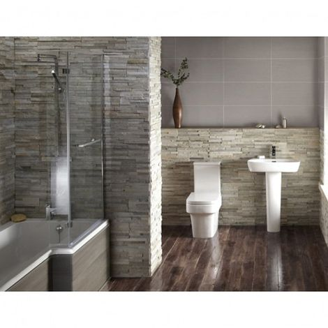 Verona Edge Avola Grey Complete Bathroom Suite Package (Right Hand Bath)