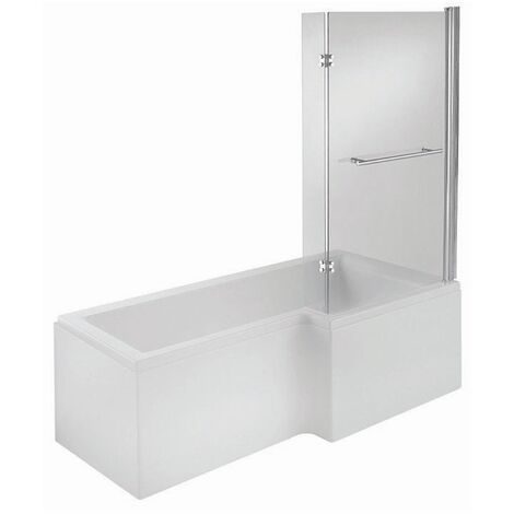 Verona Edge Complete L-Shaped Shower Bath 1700mm x 700mm/850mm - Right Handed