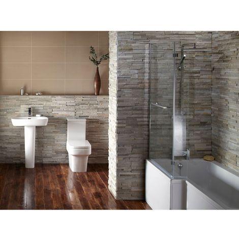 Verona Edge Gloss White Complete Bathroom Suite Package (LH Bath 520mm Basin)