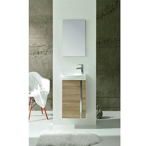 Verona Elegance Floor-Standing Cloakroom Unit with Basin and Mirror 445mm Wide - Walnut