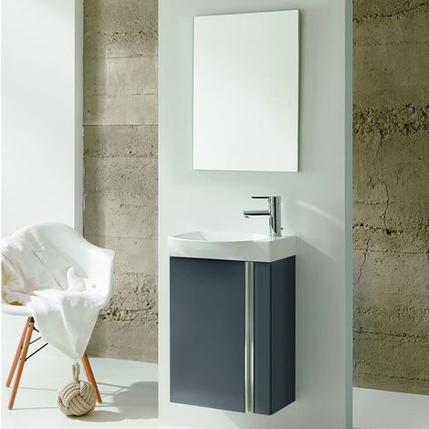 Verona Elegance Wall Hung Cloakroom Unit with Basin and Mirror 445mm Wide - Gloss Grey