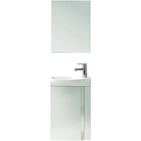 Verona Elegance Wall Hung Cloakroom Unit with Basin and Mirror 445mm Wide - Gloss White