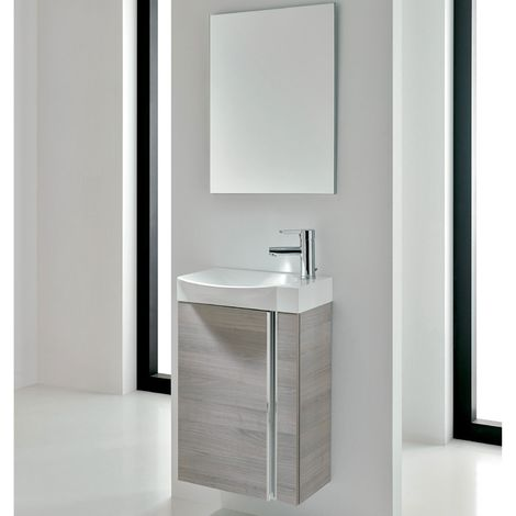 Verona Elegance Wall Hung Cloakroom Unit with Basin and Mirror 445mm Wide - Sandy Grey