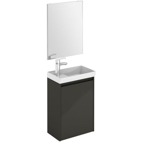 Verona Enjoy Wall Hung Cloakroom Vanity Unit with Basin and Mirror 450mm Wide - Anthracite