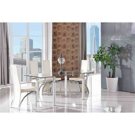 Verona Extending Glass Dining Table with 4 Alisa Designer Dining Chairs [Ivory]