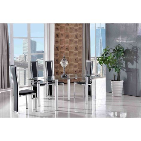 Verona Extending Glass Dining Table with 4 Elsa Designer Dining Chairs [Black]