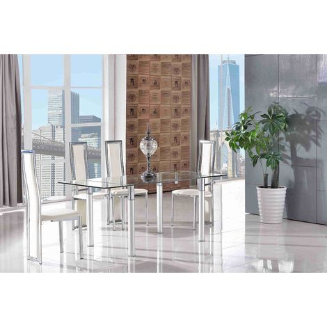 Verona Extending Glass Dining Table with 4 Elsa Designer Dining Chairs [Ivory]