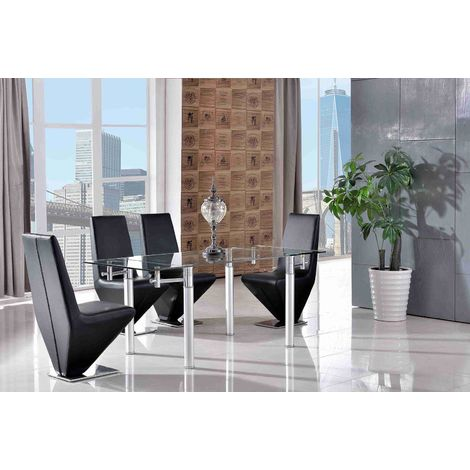 Verona Extending Glass Dining Table with 4 Rita Designer Dining Chairs [Black]