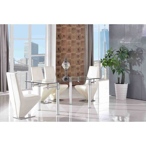 Verona Extending Glass Dining Table with 4 Rita Designer Dining Chairs [Ivory]