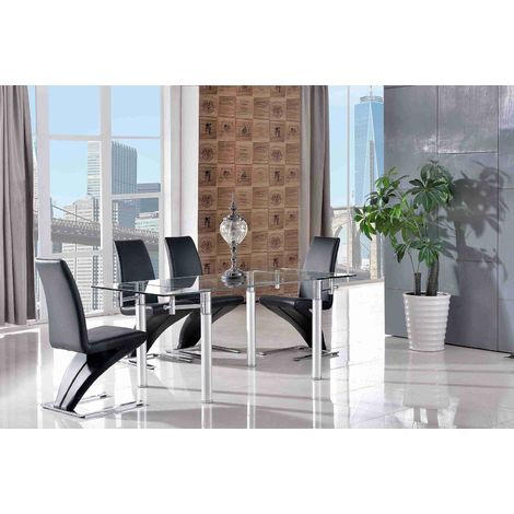 Verona Extending Glass Dining Table with 4 Zed Designer Dining Chairs [Black]