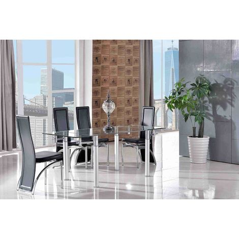 Verona Extending Glass Dining Table with 6 Alisa Designer Dining Chairs [Black]
