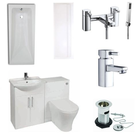 Verona F60R Complete Bathroom Furniture Suite 1150mm Combination Unit Bath Shower Mixer - Gloss White