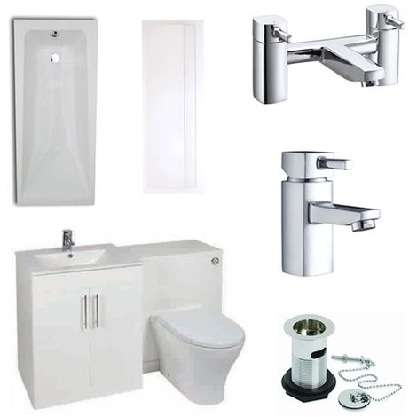 Verona F60R Complete Bathroom Furniture Suite 500mm WC Unit and Bath Filler Gloss White