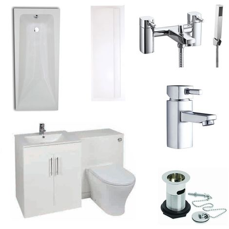 Verona F60R Complete Bathroom Furniture Suite 500mm WC Unit and Bath Shower Mixer - Gloss White