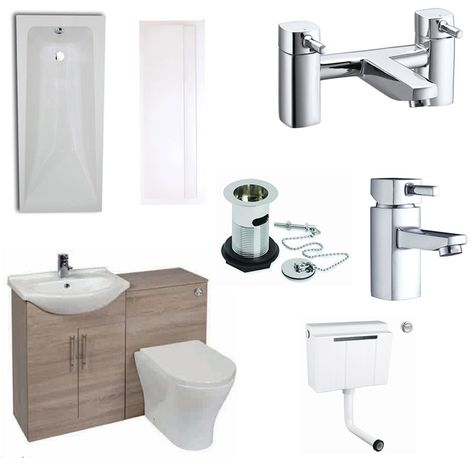 Verona F60R Complete Bathroom Furniture Suite with 500mm WC Unit and Bath Filler - Bordeaux Oak