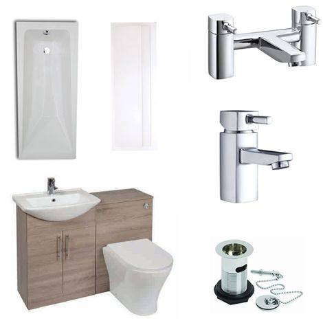 Verona F60R Modern Complete Bathroom Furniture Suite 500mm WC Unit and Bath Filler - Bordeaux Oak