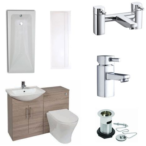Verona F60R Modern Complete Bathroom Furniture Suite 600mm WC Unit and Bath Filler - Bordeaux Oak