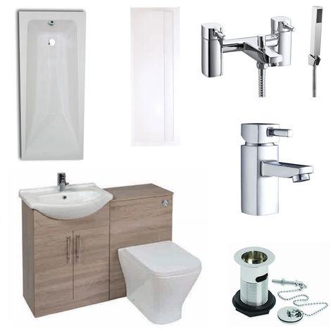Verona F60S Complete Bathroom Furniture Suite 500mm WC Unit Bath Shower Mixer - Bordeaux Oak